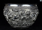 Antique Large Burmese Repoussé Silver Bowl, 1800 - 861 Grams