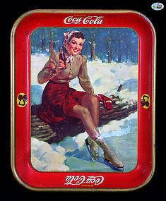 "Rare Vintage Coca-Cola Tin Tray - ""Winter Ice Skating"" - 1941"
