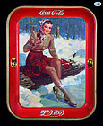 "Rare Vintage Coca-Cola Tin Tray - ""Winter Ice Skating"" - 1941"