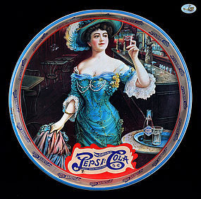 "Pepsi-Cola Gibson Girl - ""Drink Pepsi-Cola 5 C"" Round Tin Tray"