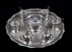 Antique 6 Piece Silver Tea Set - Isfahan - Iran - 84 zol - 1660 grams