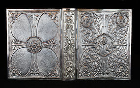 Antique Spanish Sterling Silver Catholic Bible Book Cover-41 OZ-1900