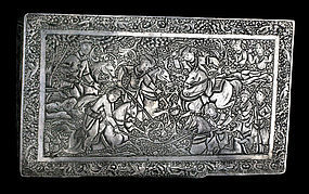 Vintage Persian Silver Box with Miniature Engraving-20th Century