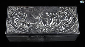 Large Antique Silver Box with Greek Mythology - Venus - 1896