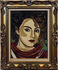 "1980s Singer Madonna Needle Point with Beads Framed 21"" x 26"""