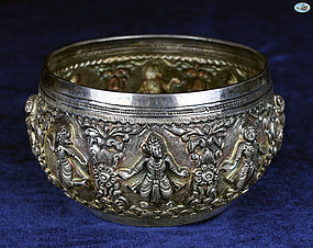 Antique Burmese All Hammered Chased Silver Bowl with Dancers- 1850
