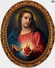 Pompeo Batoni Sacred Heart of Jesus Oil Painting Gilt Framed