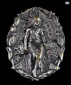 Magnificent Vintage Silver Pin of Pocahontas Jamestown, 1607 - 1907
