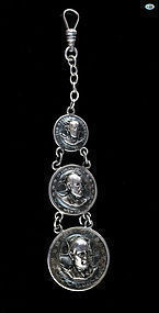 Silver Repoussé President Punched Out Pressed 3 Coins Watch Fob 1900