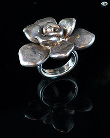 Magnificent Vintage 1950s Custom Made Sterling Silver Ring with Rose