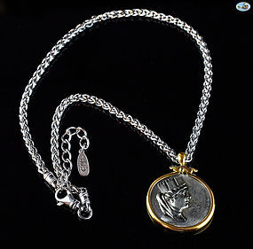 18 K. Gold Custom Made Tetradrachm Phoenicia Coin Necklace and Chain