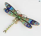 50's Plique-à-jour Multicolor Dragonfly 18 karat Gold Brooch
