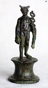 1st Century AD Roman Figurine Bronze of Mercury on Original Base