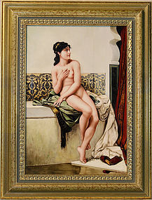 German Marked KPM Highly Glazed Enamel Painting on Porcelain Nude