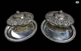 Antique Pair of Tiffany & Co. Silver Covered Entrée Serving Dishes - C