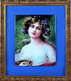 Antique German KPM Wagner Signed Enamel Painting on Porcelain 1900s