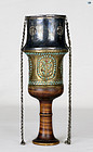 19th C. Persian Ottoman Silver Brass Hookah Cup top with Gemstones