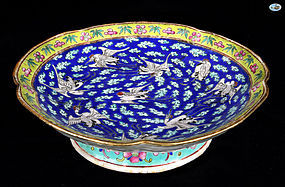 1800 Antique Chinese Porcelain Raised Bowl with Chinese Birds