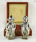 Antique 800 Silver Pair of Dutch Girl and Boy Salt & Pepper Shakers