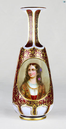 19th Century Bohemian Overlay Glass Bottle with Portrait Decoration