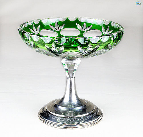 19th Century Bohemian Glass Candy Dish with Silver Pedestal Base