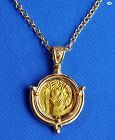 Original Byzantine Empire Gold Coin Heraclius Custom Made 14K Pendant