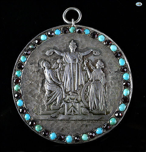 1800 Neo-classical French Silver Repoussé Pendant with Turquoise