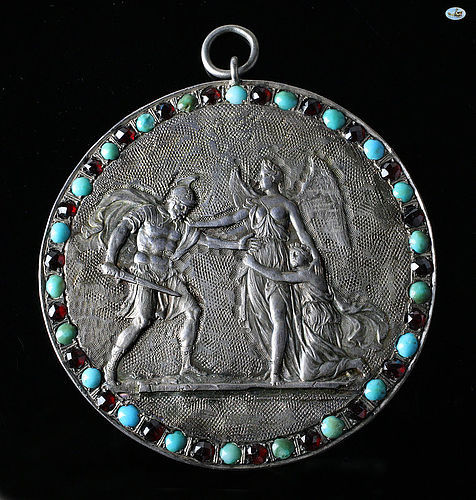 1800 Neo-classical French Silver Repoussé Pendant w/Turquoise & Garnet