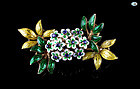 Vintage 18K Gold Flower Bouquet Brooch with Sapphire and Enamel