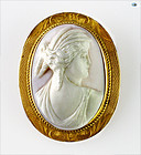 Adorable 10K Gold Victorian Hand Carved Cameo Shell Brooch/Pendant