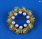 Victorian 14 K Yellow Gold Pin with Turquoise and Pearl 8.19 Grams