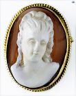Magnificent Hand Carved Victorian Cameo Shell Brooch Set on 14 K Frame