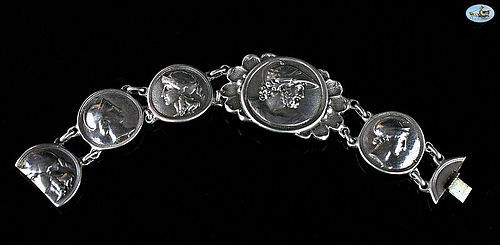 Rare Victorian British Sterling Silver Bracelet with Greek Coins 1900s