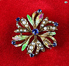 Vintage 18K Yellow Gold Floral Design Brooch with Enamel & Baby Pearl