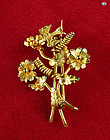 Delightful Vintage 22K Yellow Gold Flower and Bird Pin