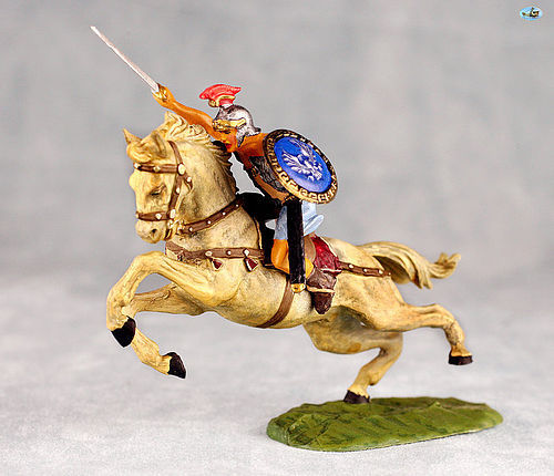 Excellent Vintage Elastolin Mounted Knight with Sword on Horse