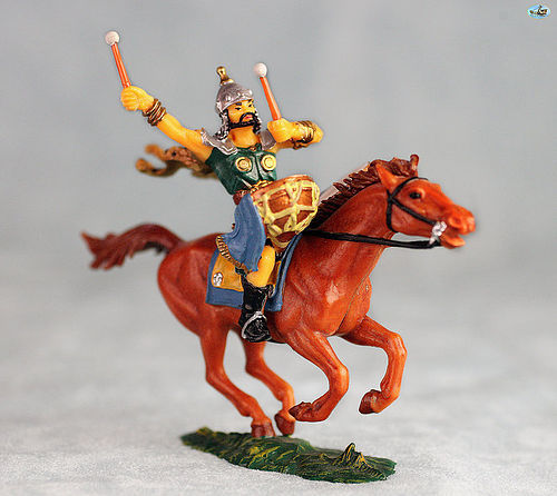 Vintage Elastolin Mounted Mongol Drummer Cavalry on Brown Horse
