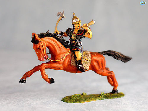 Vintage Elastolin Mounted Mongol Hun with Horn & Ax in Action