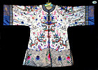 Pre-1930 Antique Chinese White Silk & Heavily Embroidered Woman Coat