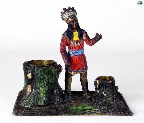Antique Pen & Ink Holder Tin Sculpture of Native Indian Figure