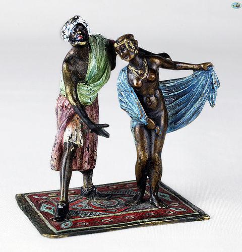 Franz Bergman Geschützt 'Master & Slave' Cold Painted Bronze Statue