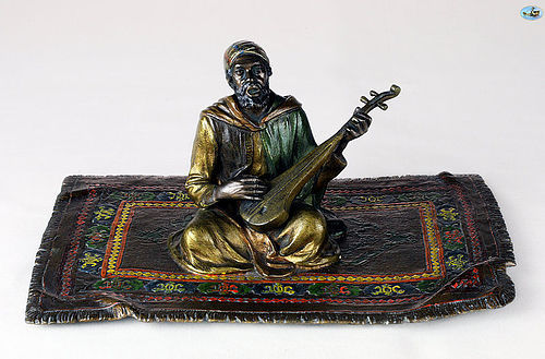 Franz Bergman Style 'Music Man on Carpet' Cold Painted Bronze Statue