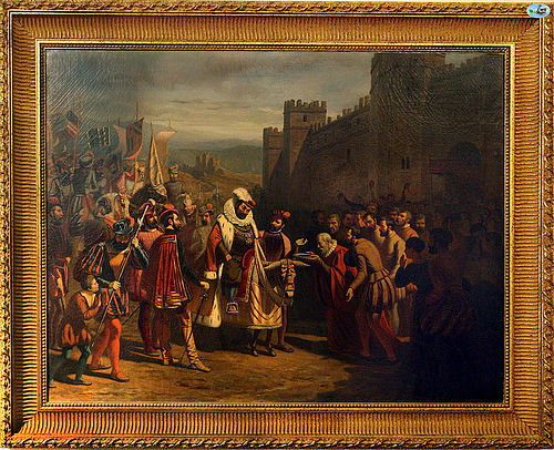 Magnificent 1846 Descostils 'A King Entering a Walled City' Painting