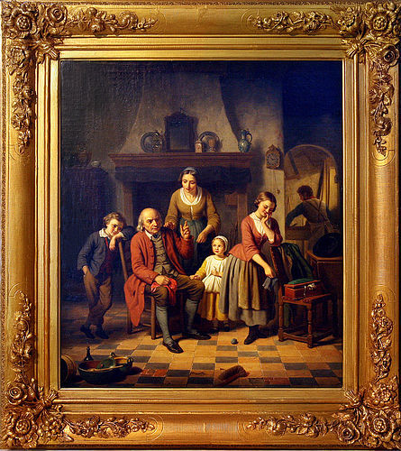 Reproduction of 1850s Basile de Loose, 'Fatherly Advice' Oil on Canvas