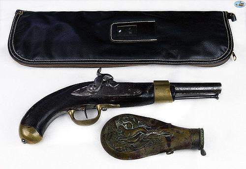 Antique Set of Pistol and Gun Powder Flask with Case Circa 1800