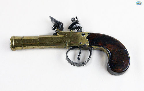 Fabulous Antique Brass-Barreled Flintlock Pistol