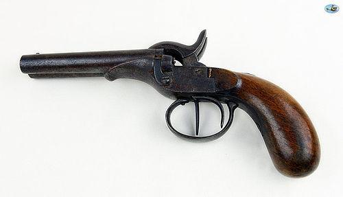Antique 19th Century Percussion Double Barrel Pocket Pistol
