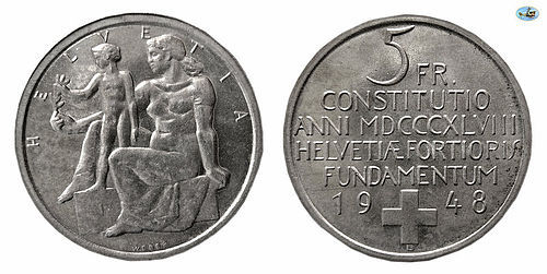 SWITZERLAND, HELVETICA , SILVER 5 FRANCS, 1948, CHOICE UNC