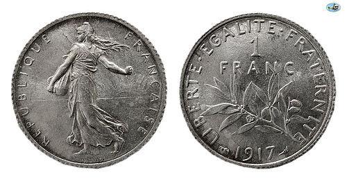FRANCE, REPUBLIQUE FRANCAISE, SILVER 1 FRANC, 1917,PARIS MINT,KM-844.1