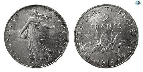 FRANCE, REPUBLIQUE FRANCAISE, SILVER 2 FRANC, 1915,PARIS MINT,KM-845.1